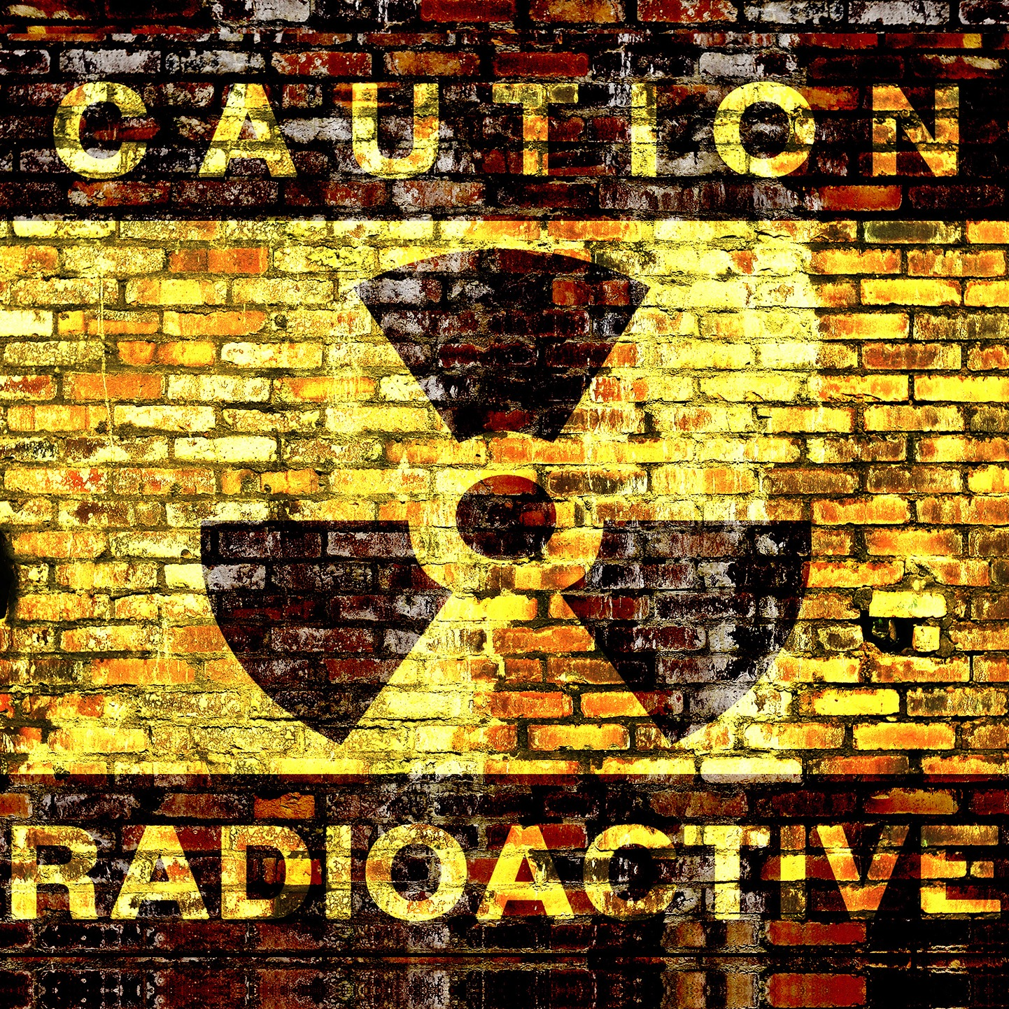 CAUTION - RADIOACTIVE SIGN PAINTED ON WALL